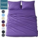 Shilucheng Bed Sheet Set Microfiber 1800 Threads Egyptian Super Soft Sheets 16-Inch Deep Pocket - Hypoallergenic - 4 Piece (Queen,Purple)