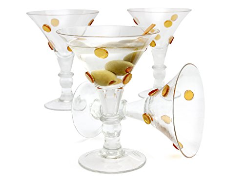GAC Large Martini Glasses Set of 4 Cocktail Glasses for Martini Set, Beautiful Colored Martini Glass with Gold Dots, Unique Design Thick Clear Glassware Martinis by GAC