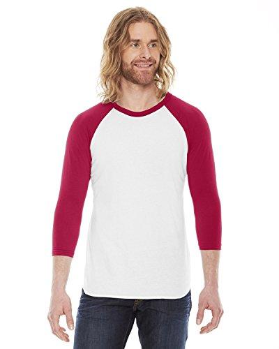 American Apparel unisex poli / algodón manga raglán 3/4 bb453 Blanco / rojo