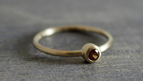 Mandarin Hessonite Orange Garnet 14kt Yellow Gold Ring Size -