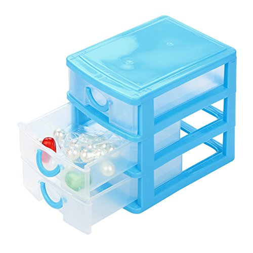 ♚Rendodon♚ Small Drawer Type Multi-Layer Storage Box, House Storage Basket, Durable Plastic Mini Desktop Drawer Sundries Case Small Objects (Sky Blue, M)