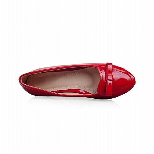 toe Shoes Womens Latasa Cute Loafer Flats Round Bow Red Fashion wWOqUR1fqX