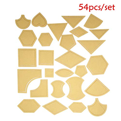 HAN SHENG 108 Pcs Handmade Mixed Quilt Templates Clear Acrylic Pattern Stencil Template DIY Tool for Leather Craft Quilting Sewing Tool (54 - 108 Leather