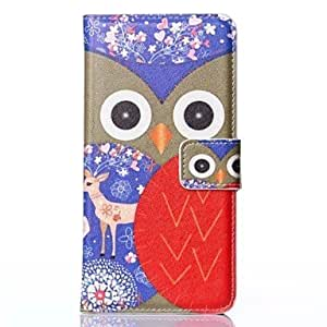 HJZ Sika Deer Background Red Owl Pattern Full Body Case for iPhone 6 Plus