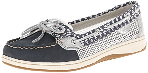 Sperry Top-Sider Women's Angelfish Critters Boat Shoe, Navy/Silver Anchor, 7 M US