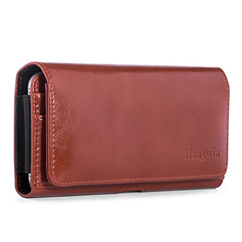 Hengwin iPhone 8 Plus Belt Case Clip Holster Pouch,PU Leather Carrying Case Smartphone Sleeve Cover Case Loop Mens Wallet Case for Samsung S8 Plus S6 Edge Plus LG G5/G6 Google Nexus 6P MOTO G4-Brown