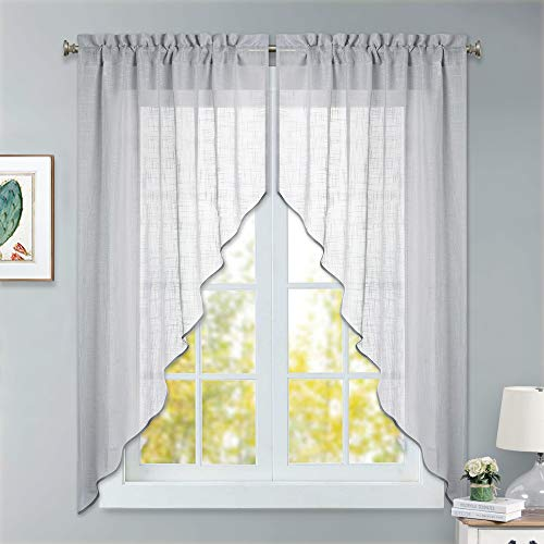 - RYB HOME Half Window Swag Curtains, Semi Sheer Valance for Light Filtering/Summer Heat Diffuse/Room Decor with Moden Linen Wave Pattern, 36 x 63 inches Long, 2 Panels, Dove Grey