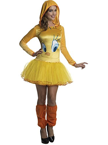 Rubie's Costume Co Women's Looney Tunes Tweety Hooded Costume Dress, Yellow, Medium