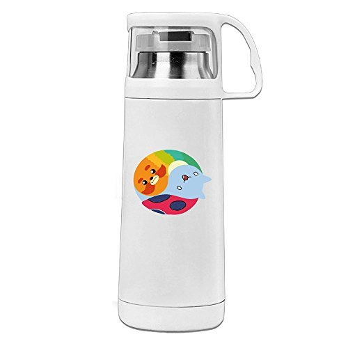 Yin-Yang Animals Vacuum Insulated Stainless Steel Coffee/ Water Bottle - Tea Travel Thermos Travel Mug (11.8OZ, White)