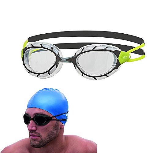 Zoggs Predator Next Gen Swimming Goggles No Leaking Anti Fog UV Protection Triathlon (Black-Green/Clear)