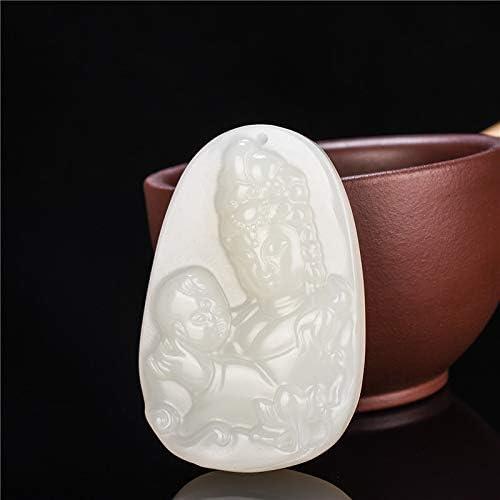 Xinjiang Hetian White Jade Songzi Guan Yin Jade Pendant Necklace