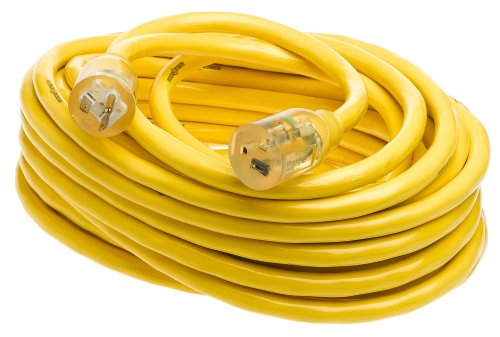 Yellow Jacket 2991 10/3 Extra Heavy-Duty 20-Amp Premium SJTW Contractor Extension Cord with Lighted T-Blade Plug, 50-Foot All Copper Wire Extension Cord, 20 Amps, 125 Volts, 2500 -