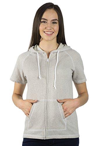 Pimatee Women's French Terry Short Sleeve Zip Hoodie (Small, Light Gray)