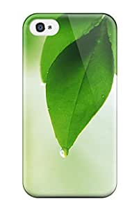 For Iphone Case, High Quality Fresh Green Leaves Focus For Iphone 4/4s Cover Cases