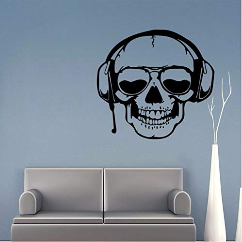 DZXGY 3D Wall Sticker Skull with Headset Music Household Removable Halloween Decoration Maison Home Decor Ornaments Adesivo Murals 57X61Cm -