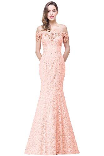 Meerjungfrau Misshow Schulter Elegant Damen Figurbetont Rosa Abendkleid Off Lace Floral Prom EqxAE7wYr