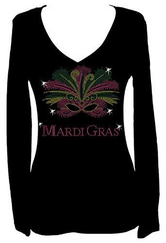Mardi Gras Mask Rhinestone New Orleans Womens V Neck Long Sleeve Tee Shirt (2X) Black