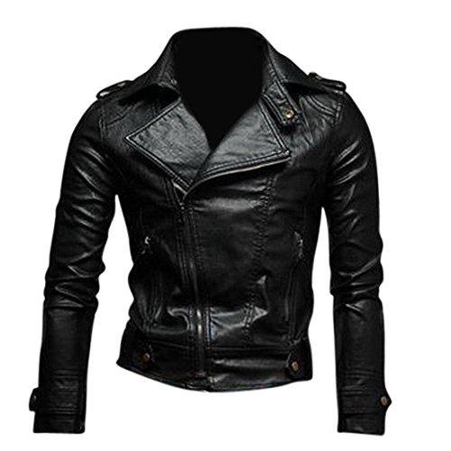 Jeansian Moda Hombre Chaqueta Moto Cuero Mens Fashion Jacket Motorcycle Leather Top 8937 Black