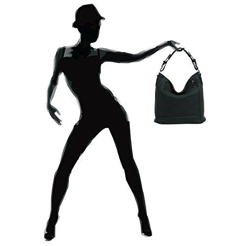 CASPAR TS917 Damentasche / Handtasche / Shopper / Schultertasche / Messenger Bag / Hobo Bag Schwarz gdMlpPfU