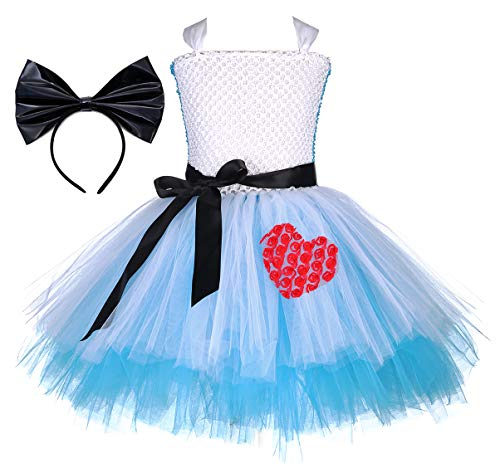Tutu Dreams LOL Dress Up Costume Fancy Princess Blue Tutu Dress for Girls Birthday Party School Performance (Alice with Big Bow Headband, X-Large) -