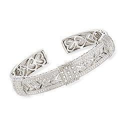 Diamond Vintage-Style Cuff Bracelet in Sterling Silver