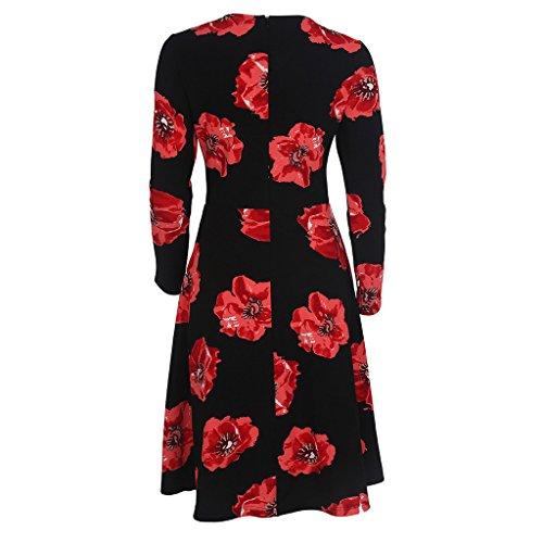 GWELL Retro Vintage Blumen Damen Swing Kleider Sommer Kleid Strandkleid Kleider Elegant Schwarz OL4rbF