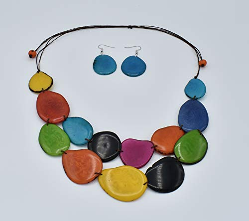 Tagua Nut Necklace Set in Rainbow of Pink, Blue, Green, Turquoise, Red, Yellow, Orange and Black ()