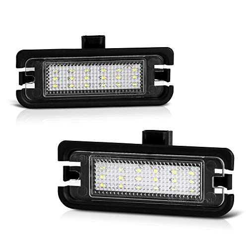 VIPMOTOZ Full LED License Plate Light Lamp Assembly Replacement For 2015-2019 Ford Mustang - 6000K Diamond White, 2-Pieces