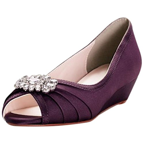 Davids Brud Jeweled Satin Peep-toe Mini Kilar Stil Coco Plum