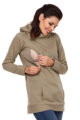 Zeta Ville - Sudadera de lactancia apertura de cremallera - para mujer - 053c verde