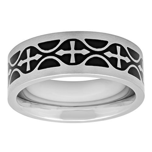 STEEL NATION JEWELRY Men's Stainless Steel 8mm Black Celtic Cross Wedding Band Ring