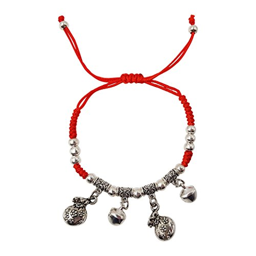 Fashion Red String Bracelet for Women with Feng Shui Bells for Good Luck & Wealth Adjustable (Bell Strings)