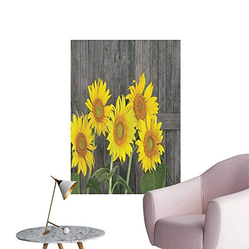 Wall Decoration Wall Stickers Sunflowers Aga st Weathered Aged Fence Garden Brown Yellow Print Artwork,20