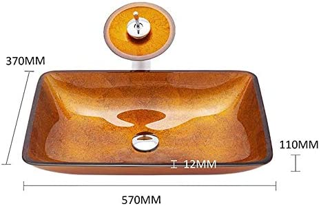 洗面化粧台シンク 現代の幾何学的強化ガラス容器ボウルシンクでゴールドモザイク仕上げのクローム蛇口コンボ、ポップアップシンクドレイン 和風 洋風 お洒落な 節水 節約 (Color : Gold, Size : 42x42x14.5cm)