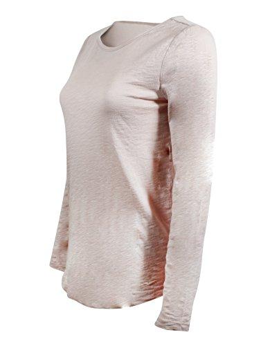 GAP Women's Long Sleeve Crewneck T-Shirt (L, Light (Gap Pink Shirt)