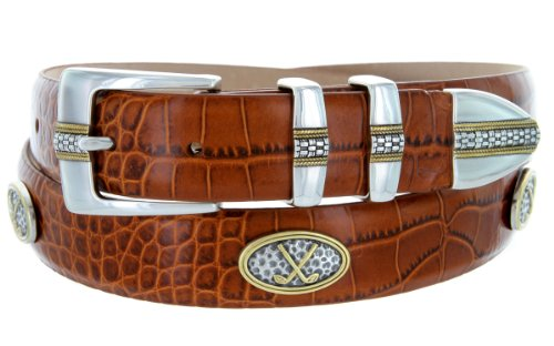 Towne - Men's Italian Calfskin Embossed Designer Dress Belt with Golf Conchos (38 Alligator Tan) (Golf Concho Belts)