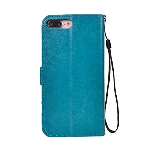 iPhone 7 Plus (5.5 inches) Funda,COOLKE Retro PU Leather Wallet With Card Pouch Stand de protección Funda Carcasa Cuero Tapa Case Cover para Apple iPhone 7 Plus (5.5 inches) - Blanco Azul