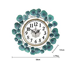 L-zhong Decorative Metal Leaf Wall Clock, Mute Non Ticking American Pastoral 3D Flower Accents Hanging Art Clock for Living Room & Office,L