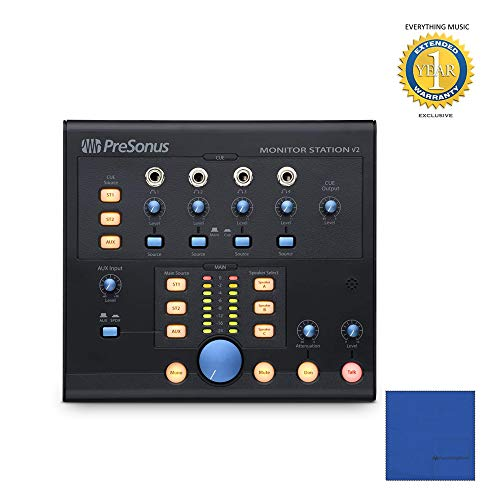 PreSonus Monitor Station V2 Desktop Studio Control Center with Microfiber and 1 Year Everything Music Extended Warranty