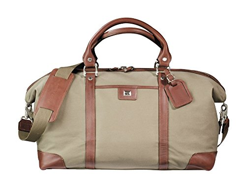 Cutter & Buck Weekender Leather and Canvas Duffel Bag Luggage Bag Chestnut