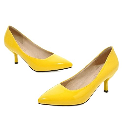 SJJH Kitten Heel Court Shoes with 8-Colors and Large Size 11 UK Available for Office Ladies Nice Working Shoes Yellow CICbx1jQ