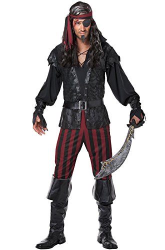 [California Costumes Men's Ruthless Rogue Pirate Buccaneer Swashbuckler, Black/Red, Large] (Pirate Costumes Boot Covers)