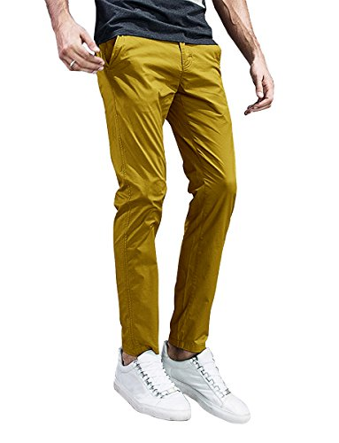 Match Mens Slim-Tapered Flat-Front Casual Pants (34, 8105 Khaki Yellow) (Yellow Pants Men)