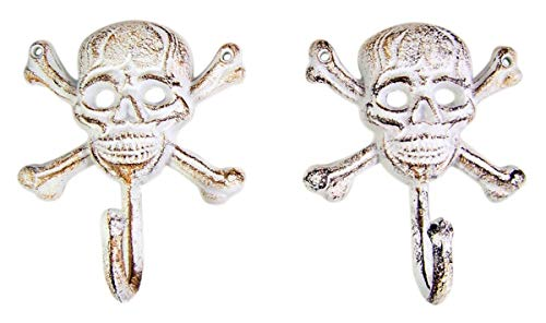 Rustic Cast Iron Pirate Skull and Crossbones Wall Hooks, 6 Inches, Set of 2 (Crossbones Set)
