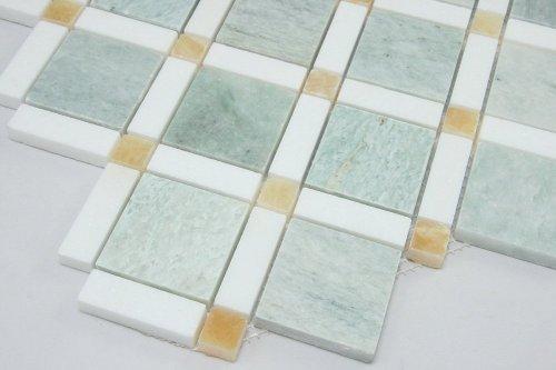 Ming Green, Thassos White, Honey Onyx Mosaic Bathroom Kitchen Backsplash Tile