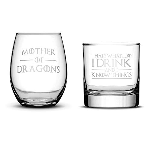 Premium Game of Thrones Set of 2, Wine Glass (Mother of Dragons) Whiskey Glass (I Drink and I Know Things) Hand Etched 14.2oz Stemless + 10oz Rocks Glass, Made in USA, Sand Carved by Integrity Bottles