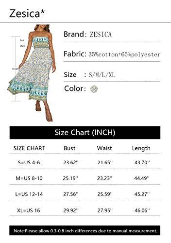 ZESICA Womens Summer Bohemian Floral Printed Strapless Beach Party Long Maxi Dress