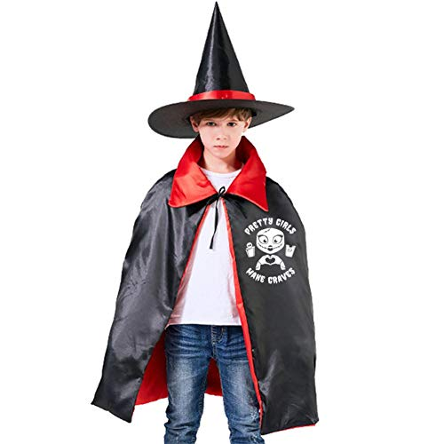 Pretty Girls Kids Cape Halloween Costumes Reversible Cloak with Wizard Hat Red