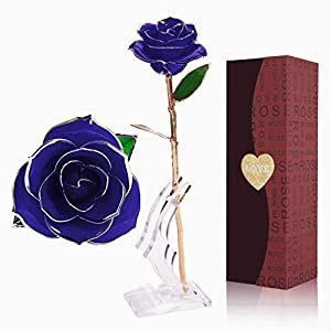 YINXN 24k Gold Rose, Red Gold Plated Rose 24k Gold Dipped Rose Everlasting Long Stem Real Rose with Exquisite Holder,Romantic Gift for Valentine's Day, Anniversary, Birthday and Mother's Day 92
