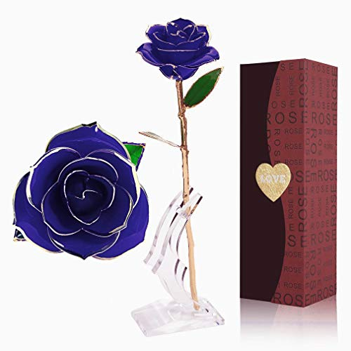 YINXN 24k Gold Rose, Gold Plated Rose 24k Gold Dipped Rose Everlasting Long Stem Real Rose with Exquisite Holder,Romantic Gift for Valentine's Day, Anniversary, Birthday and Mother's Day (Blue)